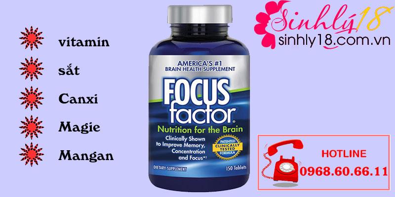 Thành phần Viên Uống Focus Factor Nutrition For The Brain Của Mỹ